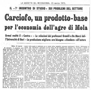 Articolo sulla Gazzetta del Mezzogiorno (1973)